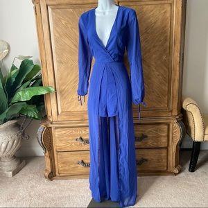Lulu's Royal Blue Chiffon Romper Maxi Dress